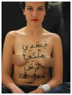 Amina, the Tunisian feminist, wrote on her naked breasts in protest against the new cultural 'civilization' in Tunisia